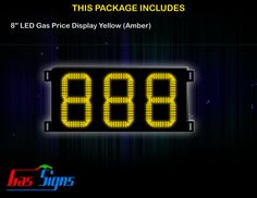 8 Inch 888 LED Gas Price Display Yellow with housing dimension H290mm x W492mm x D55mmand format 888 comes with complete set of Control Box, Power Cable, Signal Cable & 2 RF Remote Controls (Free remote controls).