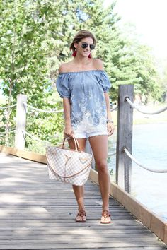Summer style - off the shoulder look from SammyDress, white jean shorts from American eagle outfitters, Louis Vuitton Girolata, Ray-Ban Aviators, Tory Burch Miller sandals. Summer look #summerstyle #ootd