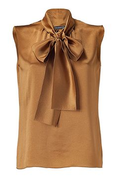 Metallic Gold Tie Neck Silk Top by Alberta Ferretti