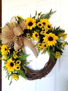 Details about Beautiful Rustic Farmhouse Country Sunflower Autumn Wreath for your Front Door- Overview - lowesbyte Autumn Wreaths, Deco Mesh Wreaths, Wreaths For Front Door, Holiday Wreaths, Door Wreaths, Wreath Fall, Spring Wreaths, Vine Wreath, Tulle Wreath
