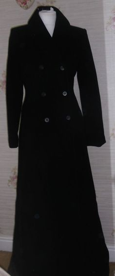 Ladies Coat First Avenue Navy Black Velvet Long Wool