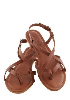 Beach Site Setup Sandal - Tan, Solid, Beach/Resort, Boho, Summer, Flat, Casual, Faux Leather, Strappy