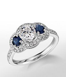 Monique Lhuillier Three-Stone Halo Sapphire and Diamond Engagement Ring