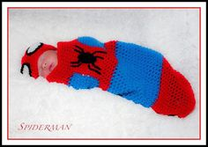 Crochet Spiderman Hat and Cocoon Set Photo Prop or Gift