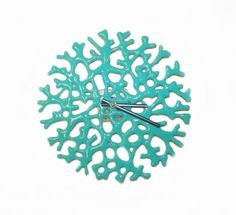 Coral Clock in Milk White Art Glass by UneekGlassFusions on Etsy