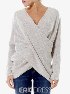 Ericdress V-Neck Mid-Length Pullover Knitwear|4 colors
