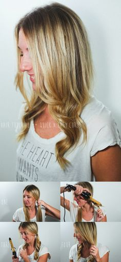 Make two pigtails, curl them, and then voila! You have beautiful & easy curls!