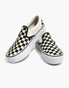 642864fafaaf59 Madewell Vans Unisex Classic Slip-On Platform Sneakers in Checkerboard  Canvas
