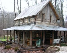 restored 150-year-old tiny cabin with a big porch!
