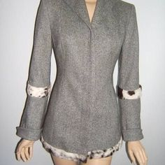 Just Cavalli 6 sexy gray fur wool jacket blazer Size 40- US 6. Bust 26, waist 31, length-29, sleeves-23.5 to 25.5 with fur trim. Sexy! Wool blend. Lined. Just Cavalli. Signature hidden buttons. Excellent condition. Made in Italy. Just Cavalli Jackets & Coats Blazers