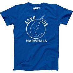 MENS Save The Narwhals T-Shirt funny, animal shirt, vintage, school shirt, cool movie, birthday gift for men, guy, boyfriend, husband S-5Xl by CrazyDogTshirts on Etsy https://www.etsy.com/listing/104136734/mens-save-the-narwhals-t-shirt-funny