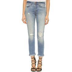J Brand Georgia Mid Rise Slim Boyfriend Jeans ($145) ❤ liked on Polyvore
