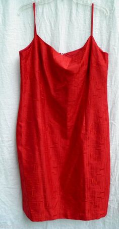Talbots sz 18 Cherry Red textured SILK Spaghetti strap knee length dress NWT  #Talbots #Shiftsundress #Casual