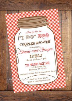 Couples Bridal Shower Printable Invitation-Rustic I Do BBQ, Mason Jar, and Gingham...$14.00 on etsy.