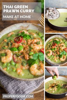 A fragrant and creamy Thai green prawn curry recipe with plump and juicy prawns and nutty edamame beans. Make your own Thai green prawn curry at home with this simple recipe and this easy to make Thai green curry paste. Better than a takeaway any night of the week. Thai Green Prawn Curry, Thai Green Curry Paste, Sweets Recipes, Fish Recipes, How To Make Curry, Thai Curry Recipes, Vegan Fish, Edamame Beans, Full Fat Yogurt