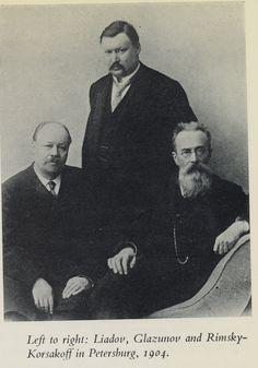 Antole Liadov, Alexandre Glazounov et Nikolai Andreyevich Rimsky-Korsakov (1844-1908) en 1904.
