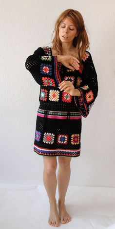 Crochet dress tunic hippie gypsy jumper sweater por GlamCro en Etsy