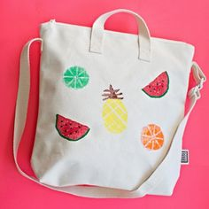 Make a cute potato stamp fruit bag for kids (and adults!).