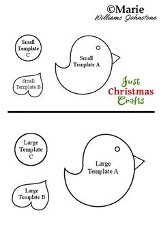 Free printable template for a cute Robin bird in 2 sizes for crafts