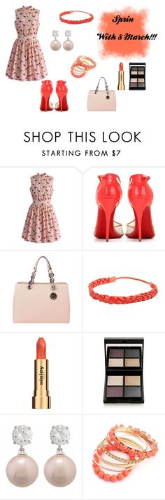 """With 8 March!!!"" by emma-swon ❤ liked on Polyvore featuring Chicwish, Christian Louboutin, MICHAEL Michael Kors, JustFab, Sisley, Surratt and Ruby Rocks"
