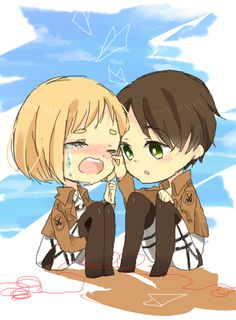Eren and Armin Attack On Titan Eren, Attack On Titan Ships, Eren X Armin, Happy Show, Aot Characters, Manga Art, Character Art, Potato Girl, Chibi