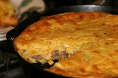 Beefy mexican cornbread- my Mother made this alot. We loved this with salad is a complete meal.