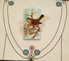 Vintage Enesco Mother Bird and Baby Wall Pocket, Wall Planter, Wall Vase; Vintage Planters, Vintage Vases, Rose Trellis, Wall Pockets, Beautiful Wall, Little Gifts, Vintage Shops, Birds, Hand Painted