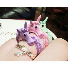 Adjustable Pastel Unicorn Finger Ring - http://pastelgothfreak.com