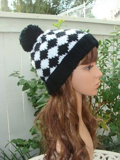 Black and White Diamond Pom-Pom knit beanie with by IKnit4aCure