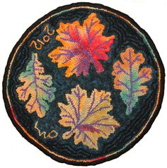 Autumn Leaves Chair Rug designed and hooked by Laura Pierce