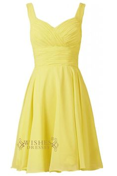 Daffodil chiffon sweetheart neckline short bridesmaid dress with straps and zipper back. Neckline:Sweetheart Length:Knee length Details:Ruching Fabric:Elastic Satin,Chiffon Color:Yellow,Red,Dark Navy,