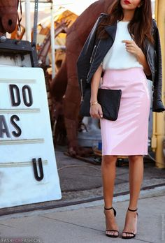 Street Style | Fashion Style | Pink Skirt | Sweet Look | Black Hand Bag | Clutch | Minimalist Sandals | Summer Shoes | Sandals | Heels | SS14 Trends | Trend Alert