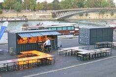 New in Paris. They're not pop-up restaurants, they're shipping container restaurants. Just pick them up an go! They pack a whole lot of delicious casual food.