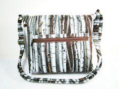 Birch Trees Handmade Fabric Purse /Cross Body Handbag / 5 Pockets / Zippered by darlingsdesigns on Etsy