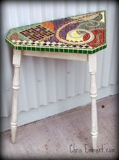 Two Legs, Mixed Media Mosaic Art Table by Chris Emmert. She is a fantastic mosaic artist!