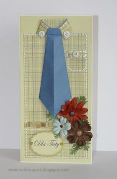 Dad's shirt, or a piece of it, to make this masculine card...lose the tie.