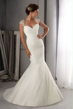 2014 Off The Shoulder Mermaid/Trumpet Wedding Dress Pleated Bodice With Court Train Beaded Tulle