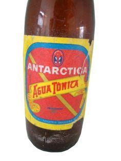 garrafa antiga de água tônica antarctica c/ rótulo papel