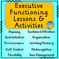These lessons, activities, and posters teach specific executive functioning skills, including: planning, organization, time management, task initiation, working memory, metacognition, self-control, sustained attention, flexibility, and perseverance. Each lesson includes a description of the skill, a pre-assessment, and activities to practice the skill. These introductory lessons can be used with students from upper elementary all the way through high school.