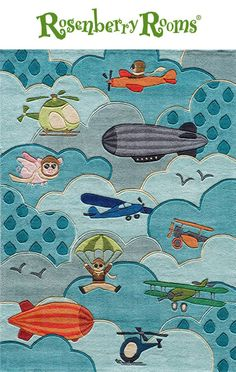 The Lil Mo Whimsy Sky Rug is a fun and exciting rug that features cool aviation inspired characters and machines!   Vivid colors and modern designs make this rug perfect for your little boy's room!