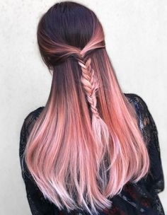 20 rose gold hair color ideas + tips on how to dye - 20 rose gold hair color id. - Patricia Chan - 20 rose gold hair color ideas + tips on how to dye – 20 rose gold hair color ideas + tips on how - Gold Hair Colors, Hair Dye Colors, Ombre Hair Color, Cool Hair Color, Hair Color Pink, Pastel Pink Ombre Hair, Brown To Pink Ombre, Pink Hair Tips, Subtle Hair Color