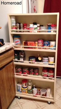Awesome DIY Slide out pantry storage solution! homeroad: DIY Slide Out Pantry more shelves could = a spice rack Kitchen Storage Units, Kitchen Storage Solutions, Pantry Storage, Kitchen Shelves, Kitchen Pantry, Diy Storage, Storage Ideas, Extra Storage, Kitchen Ideas