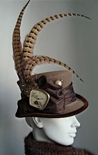 Steampunk hat - for a man's hat, more chains, definitely the clock face.