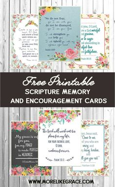 These FREE Scripture cards are great for Bible Memory Plans, Encouragement Notes to friends, Bible Verse Bookmarks, Lunchbox Notes. well, you get the idea! Grab a set today and sprinkle some grace around with God's beautiful words! Printable Prayers, Free Printable Cards, Printable Bible Verses, Free Printables, Printable Bookmarks, Printable Pictures, Scripture Memorization, Scripture Cards, Scripture Quotes
