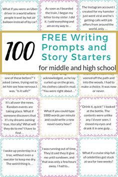 100 Writing Prompts and Story Starters for Middle School and High School Need a creative idea for your next story? Grab this list of 100 writing prompts and story starters to get your creative juices flowing. Writing Prompts 2nd Grade, Kindergarten Writing Prompts, Writing Prompts For Writers, Picture Writing Prompts, Creative Writing Prompts, Story Prompts, Middle School Journal Prompts, Writing Ideas, Journal Prompts For Teens