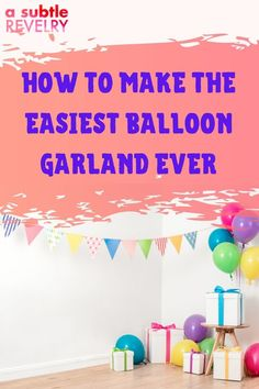 Party decorations must include balloons on the checklist. How else will you be able to make a balloon garland? A Subtle Revelry has compiled a guide showing you how to make the easiest DIY balloon decoration ever. This garland goes with every celebratory occasion that you can think of including birthday, baby shower, graduation, and so much more. The many ways you can make a balloon garland is only limited by your imagination. Get the details…#balloongarland #balloonfun #ballooncelebration Balloon Cake, Balloon Backdrop, Love Balloon, Balloon Decorations Party, Balloon Garland, Galaxy Balloons, Colourful Balloons, Fun Cocktails, For Your Party