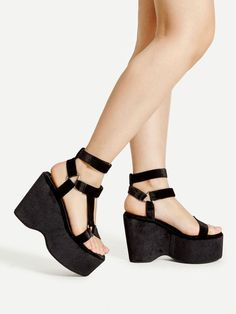 f3864552f74d Shein Metal Triangle Detail Strappy Wedge Sandals Sandalias