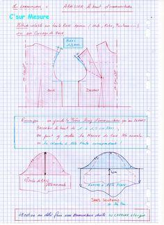 on veux changer l'emmanchure ! la manche change ou pas : ...Manche tete simple depart : emm rouge :Base , manche de base ou manche plate de base . zoom, clicl'img *emm bleu : haut emm baissé != meme long emm manche idem ou manche plate. *emm verte : carrure... Couture Main, Costumes Couture, Techniques Couture, Pattern Drafting, Sewing Tutorials, Diy And Crafts, Projects To Try, Stitch, Crochet