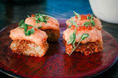 Spicy mayo, ikura, coriander Coriander, Cornbread, Salmon, Spicy, Menu, Ethnic Recipes, Food, Millet Bread, Menu Board Design