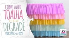 Aprenda a fazer uma linda Toalha de Mesa para festa infantil com papel crepom de babados! Simples, lindo e barato de fazer